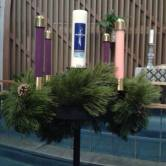 Advent wreath at the altar