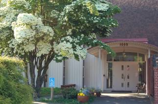 June blooms at the entrance to St. Elizabeth